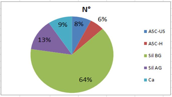 Figura 2. Distribución porcentual de lesiones precursoras y cáncer cérvicouterino registrados en 2000 muestras citológicas de CAPS de Corrientes.